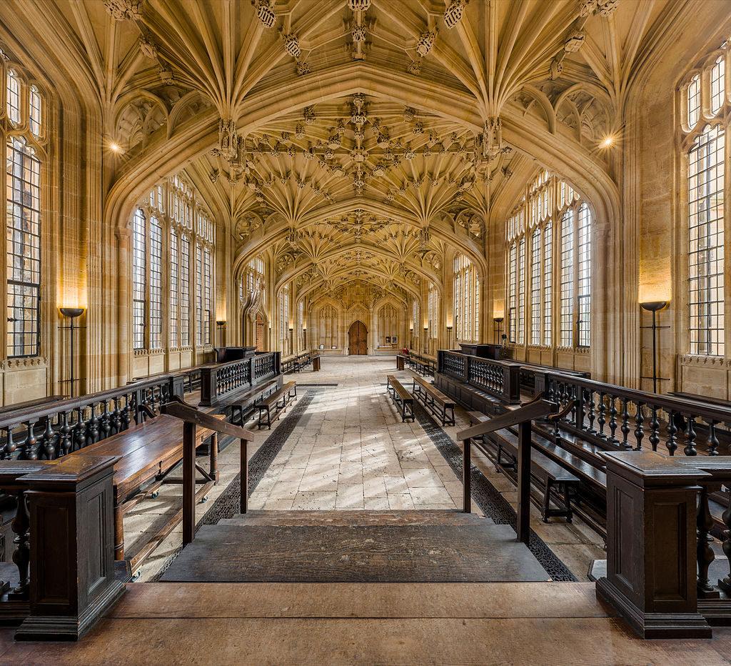 Divinity School Interior, Bodleian Library, Oxford, UK by David Iliff via Wikimedia Commons