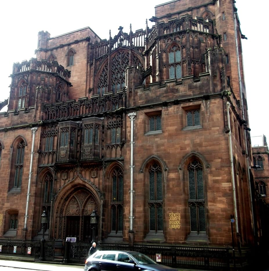 John Rylands Library from Deansgate, Manchester by Bernard Randall via Wikimedia Commons