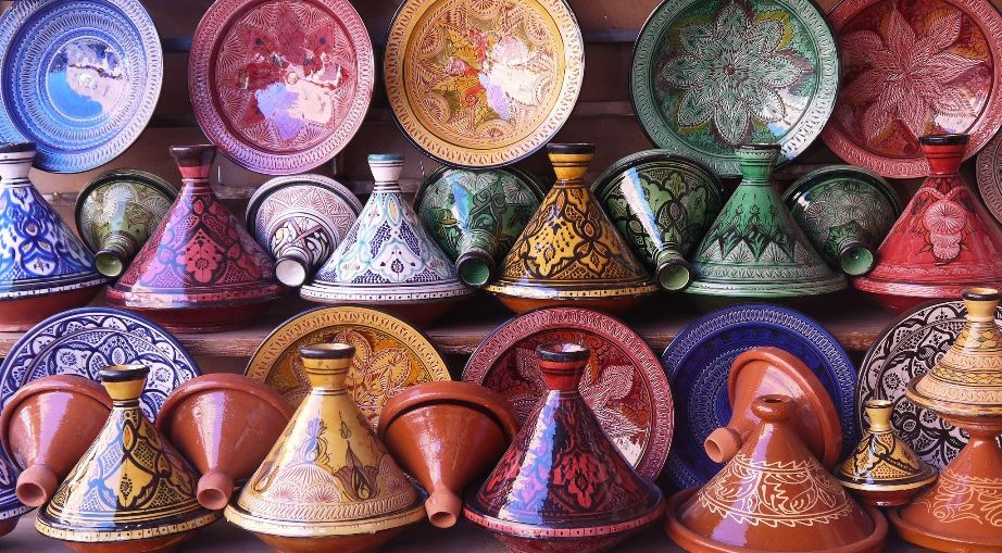Tajines in a Pottery Shop in Morocco by Jafri Ali via Wikimedia Commons